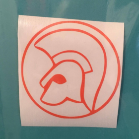 White Orange Trojan Head Sticker